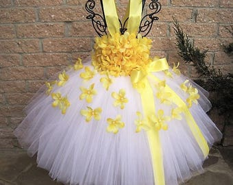 WHITE YELLOW FLOWERS - White Tutu Dress - Yellow Tutu Dress - Flower Girl Gown - Pageant Outfit - First Birthday Dress - Baby Girl Dress -