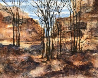 Original Watercolor Painting by Janet Dosenberry a culmination of an artistic exploration,Canyon Passage, Rocky Terrain,