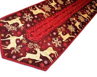 Long Christmas Quilted Table Runner, Red and Cream Reindeer Table Runner Quilt, Snowflakes Christmas Decor, Quiltsy Handmade Patchwork