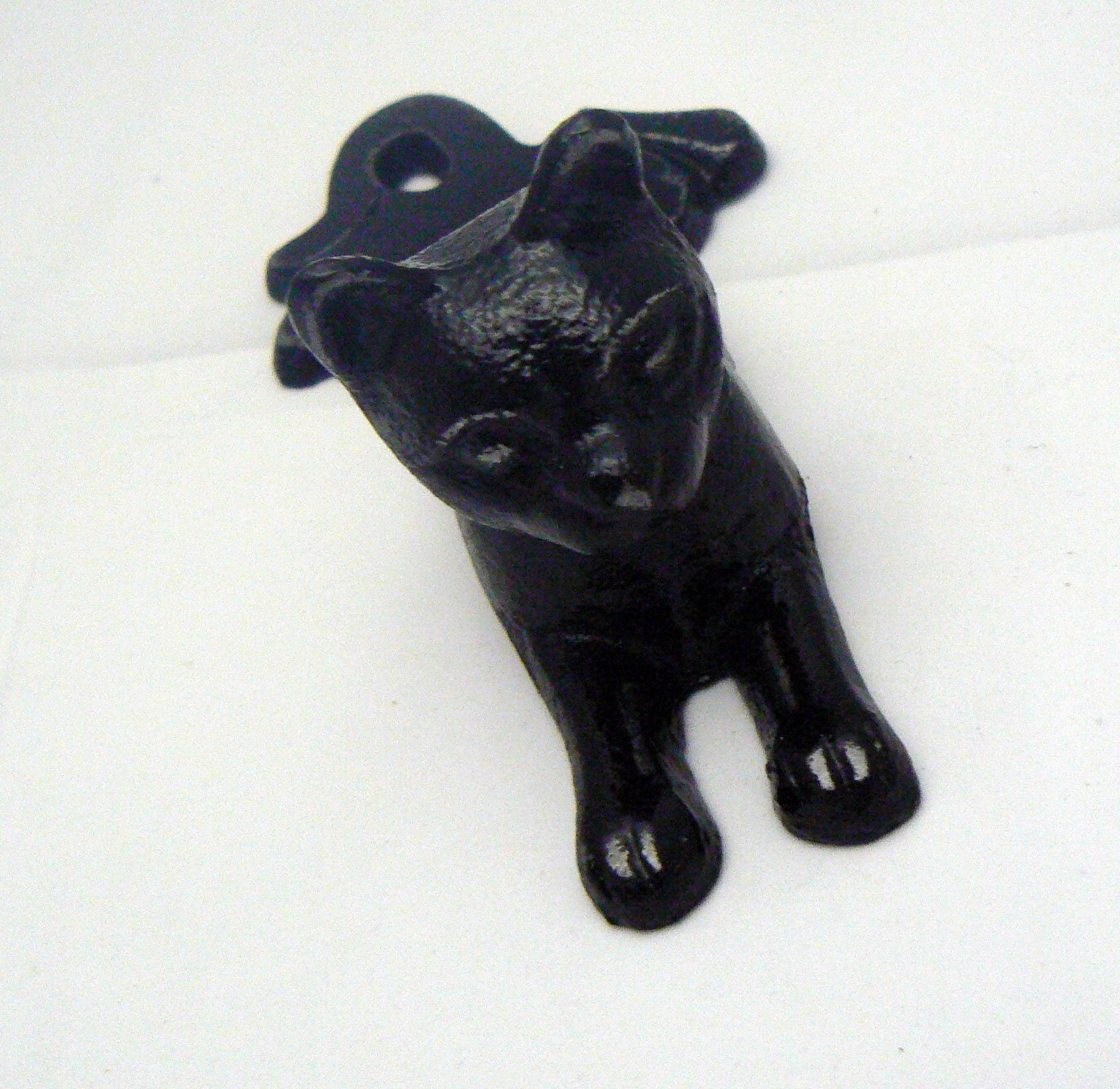 Cat Door Stop Cast Iron Shabby Chic Black Kitty Kitten