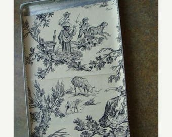 ONSALE Gorgeous Vintage Black and Creme Woven Toile Fabric Sample