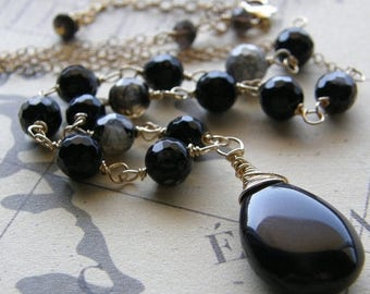 Summer Sale 20% Off Black and Gold Necklace, Rosary Style Necklace, Stone Pendant, Brown and Black Agate Necklace