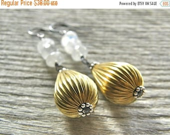 Summer Sale 20% Off Moonstone and Gold Brass Corrugated Metal Teardrop Earrings