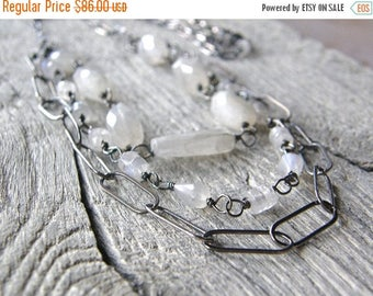 Summer Sale 20% Off Ice Storm Moonstone Multi Strand Necklace, Sterling Silver Long Layered Necklace, Large Link Chain