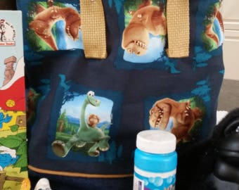 The Good Dinosaur Child Tote / Book Bag / Kindergarten Tote / Preschool / Travel Bag with Decorative Piping / Embroidered with Childs Name