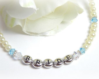 Something Blue Anklet, Bridal Anklet Pearl and Crystal Something Blue Anklet Wedding Anklet, Bridal Jewelry