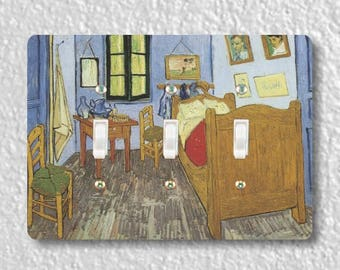 The Bedroom Van Gogh Painting Triple Toggle Light Switch Plate Cover