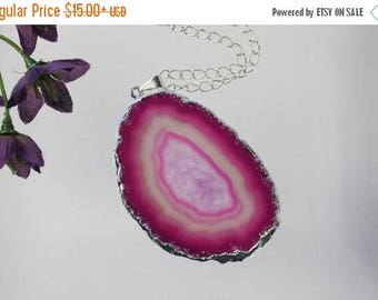 ON SALE Pink Agate Necklace, Agate Pendant, Boho Jewelry, Boho Necklace, Layering Necklace, Silver Plated Agate Slice Jewelry, APS185