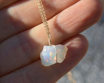 Raw Opal Necklace Ethiopian Opal Rough Nugget on Gold October Birthstone