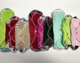 Try 3 MamaBear LadyWear Quick-Dry cloth menstrual pads set - Medium, Light, and DailyWear - COTTON VELOUR