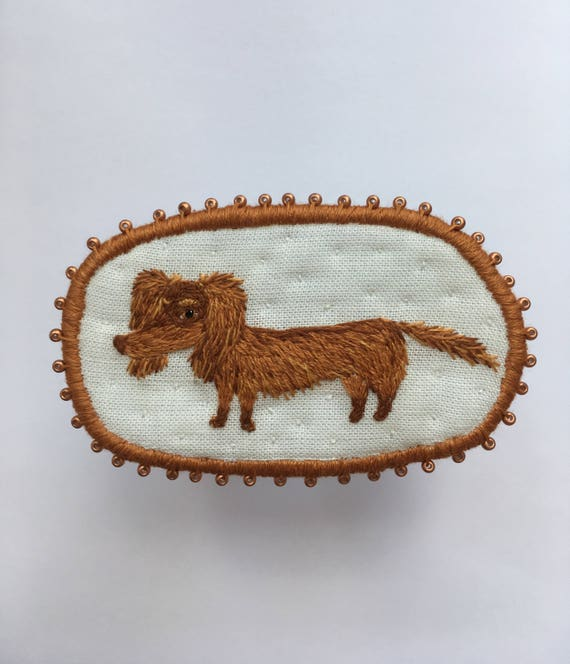 Chocolate langhaired Dachshund Brooch -  Funny Dogs - collection, hand embroidered textile jewelry, pet portrait brooch.