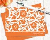 ensemble de papeterie cartes note personnalisée - fixes féminine belle LINDSEY - lot de 8 cartes pliées - - choisir la couleur de l'encre et l'enveloppe