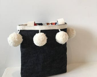 Girls Tote/ Girls Purse/ Japanese Denim Tote
