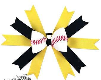 JULY SALE - 20% OFF: Baseball Hair Bow - Yellow Black