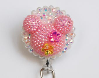 Minnie Mouse Shimmery Pink Silhouette ID Badge Reel - Retractable ID Badge Holder - Zipperedheart