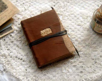 Pocket Poet - Recycled Leather Pocketbook with Linen, Antique Print, Tea-Stained Pages - OOAK