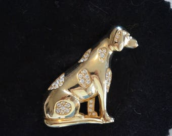 Nice Dalmatian Dog Pin Brooch Gloria Vanderbilt   Dalmatian Pin with Rhinestones   Decorative Pin