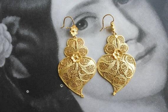 Earrings Filigree Silver Portugal Tile Azulejo 24k Gold Bath Queen's Earrings - Brincos da Rainha Made in Portugal SHIPS FroM USA