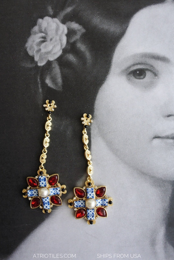 Earrings Tiles Portugal Blue Cross Red Baroque Runway Fashion Atrio Ships from USA - Gift box included