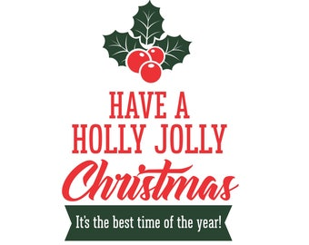 Holly Jolly Christmas, Decal for Sign, Vinyl Decal for Sign, Vinyl Letters, Chalkboard Decal, Farmhouse Style, Christmas Decal, Holly Berry