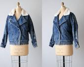 Veste en Jean vintage des années 1980 avec doublure en peau de mouton / au-dessus de taille ample veste / veste d'hiver