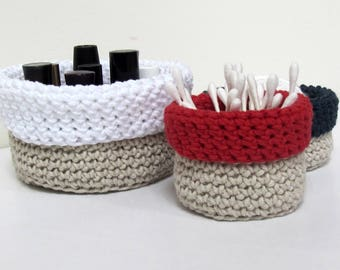 Twine and Crochet storage bowls - Set of 3