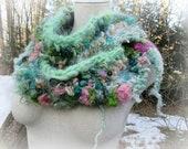 hand knit soft art yarn long loop infinity scarf - dreamy rose scarf