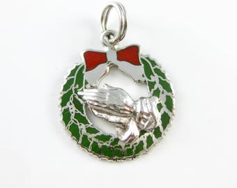 Vintage Christmas Wreath Praying Hands Sterling Charm - Green and Red Enamel Beau Sterling Charm