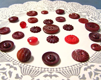 Vintage Buttons, Button lot, 25, Red Buttons, Cranberry, Dark Red, Sewing supply