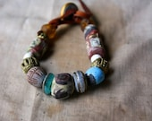 D'un Faune Bracelet w / Artisan Beads On Waxed Buckskin Leather For a 6 to 6.5 Inch Wrist