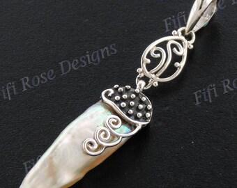 "2 3/16"" Biwa Stick Freshwater Pearl 925 Sterling Silver Pendant"