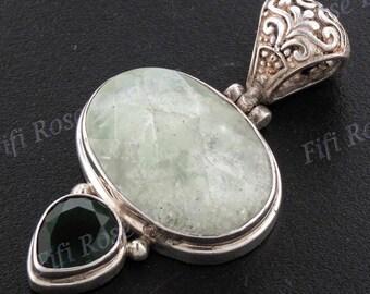 "1 15/16"" Aventurine Green Quartz 925 Sterling Silver Pendant"