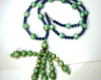 Jade Green & Czech Blue Glass Bead Tassel Necklace, OOAK by Rachelle Starr, Ecochic Recycled Art to Wear Jewelry