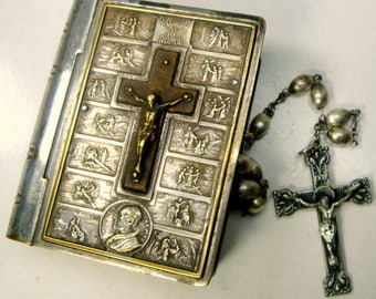 Pope Pius XII  Rosary Holder, Silvertone ORNATE Box, 1950, Ricordo Di Roma & Free Vintage Rosary, Very Used, Loved Oxidized Collectible