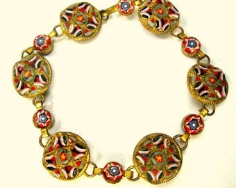 1900s Antique Italian Micromosaic Link Bracelet, Vintage Glass Tesserae Tiles, Red White Blue , Quite Old &On Brass, Happy Colors