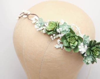 Rustic Succulent Flower Crown Wedding Headband, Green Bridal Succulent Flower Wreath of Succulents and Dusty Miller Leaves