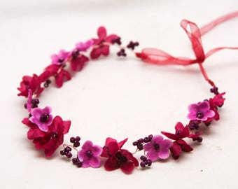 Flower Crown in Shades of Cerise and Purple with Beads, Flower Girl Headbands, Flower Halo