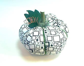 Size 3 |White/Black Fabric Pumpkin | Halloween Decor | Fall Decor |Stuffed Pumpkin | Thanksgiving Decor | Handmade Gift | Pincushion | #13