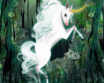 First 50 - includes Surprise GIFT -  'Light unicorn' 8.5x11 open edition of fine art prints, signed, Beautiful Unicorn, Queen Bee Series
