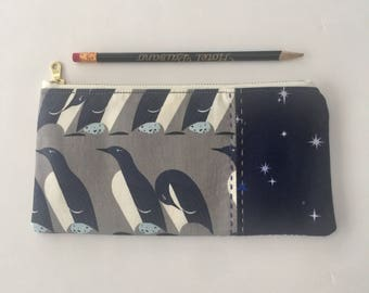 Pencil Bag with Penguins, zipper bag that's sturdy and padded for your essentials