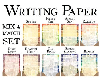 Luxury Letter Writing Paper - Mix & Match Set | Vintage Postage Stamp Stationery Set | Postal Stamp Mail Art Print Penpal Notepaper Gift Set