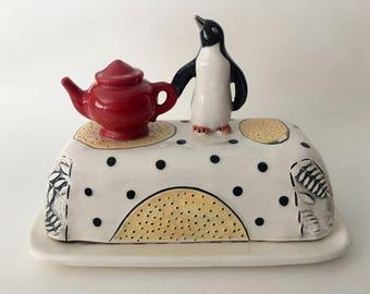 Butter Dish, Ceramic Butter Dish, Ceramic Sculpture,Pottery. Hand built, tilebyfire