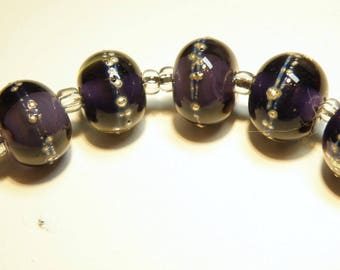 Six (6) Amethyst Purple Lampwork Rondelle Beads with Silver Wire Accent -- Lot 3N
