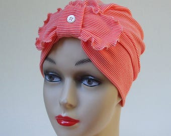 Women Turban Hat, Ruffled Bow, Soft, Ribbed Jersey Poly and 26% Merino Wool Cap, Chemo Hat, Sleepcap, Cancer Headwear, Medium
