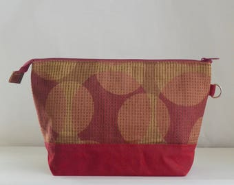 Red Spotlight Large Zipper Knitting Project Craft Wedge Bag with Detachable Wrist Strap- READY TO SHIP