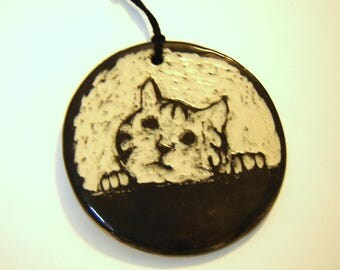 Tabby Cat Ornament - Black and White Kitten - Sgraffito Pottery - Wall Hanging - Home Décor - Gift for Cats Lover
