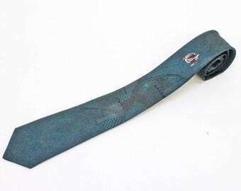"""90's Skinny Tie Necktie / Narrow Tie / Retro Tie / Art Deco Tie / Teal Blue / 2  1/2"""" wide"""