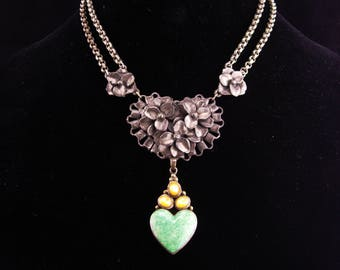 Antique sweetheart necklace / Sterling Moonstone Heart /  malachite drop / ornate rollo chain / statement necklace / silver necklace