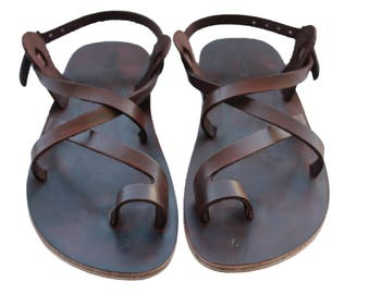 CLEARANCE SALE - Dark Brown Roxy Leather Sandals - All Leather Sole  - Euro # 39 - Handmade Unisex Sandals, Genuine Leather, Sale