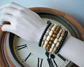 One Wrap Bracelet - Glass, bone and wood beads - Memory wire - Boho chic - Bohemian bracelet - Cuff - One size fits all - bycat